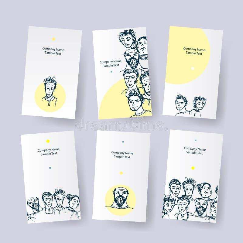 Σύνολο διαφορετικών καρτών με τους ανθρώπους Διανυσματικές ετικέττες επιχείρησης ταυτότητας Κάρτες ταυτότητας Doodle διανυσματική απεικόνιση