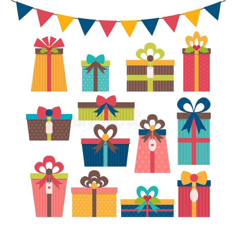 Σύνολο διαφορετικών κιβωτίων δώρων Ζωηρόχρωμα τυλιγμένα κιβώτια δώρων Birthd ελεύθερη απεικόνιση δικαιώματος