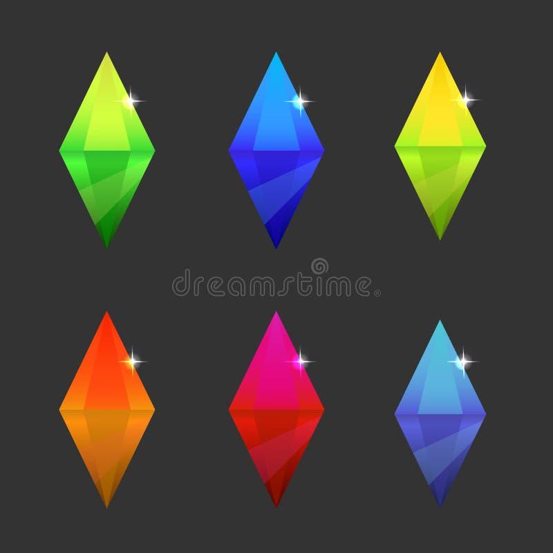Σύνολο διαφορετικών κρυστάλλων χρώματος κινούμενων σχεδίων ελεύθερη απεικόνιση δικαιώματος