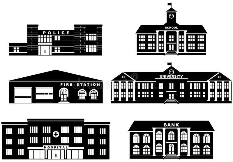 Σύνολο διαφορετικών κτηρίων σκιαγραφιών στο άσπρο υπόβαθρο στο επίπεδο ύφος Πυροσβεστικός σταθμός, Αστυνομία ελεύθερη απεικόνιση δικαιώματος