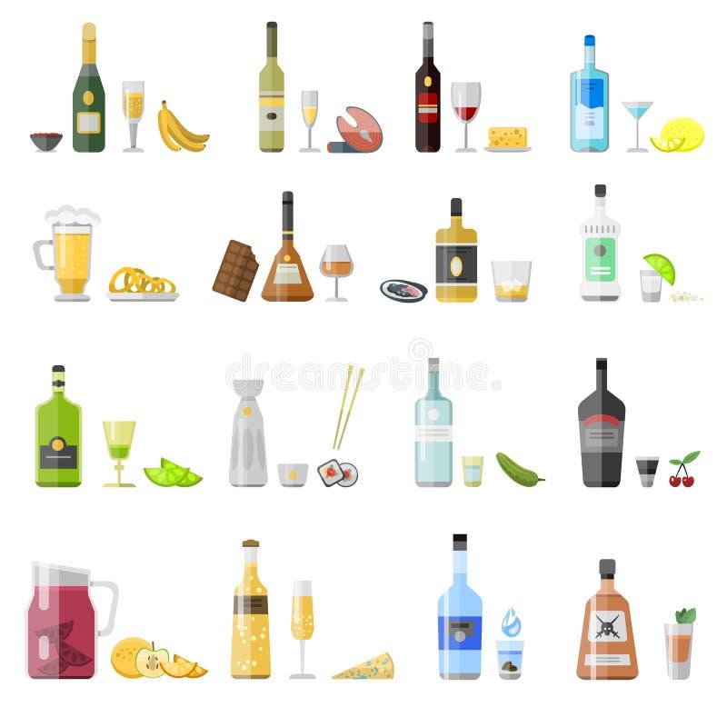 Σύνολο διαφορετικών μπουκαλιών ποτών οινοπνεύματος απεικόνιση αποθεμάτων