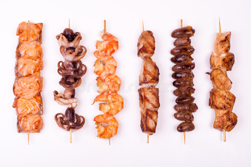 Σύνολο διαφορετικών οβελιδίων κρέατος στοκ εικόνες