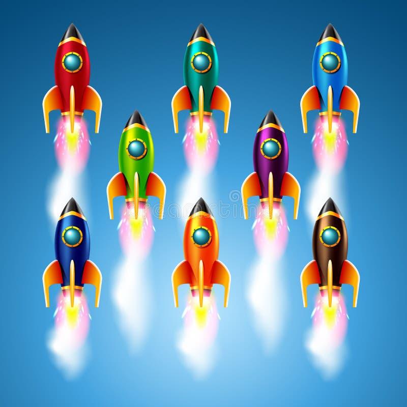 Σύνολο διαφορετικών πυραύλων χρώματος επίσης corel σύρετε το διάνυσμα απεικόνισης διανυσματική απεικόνιση