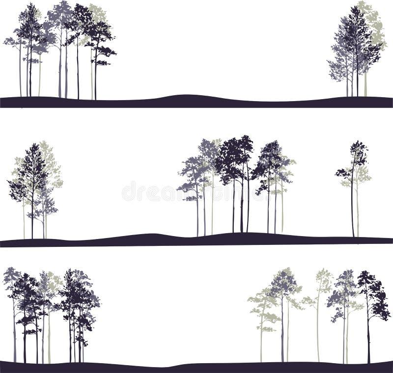 Σύνολο διαφορετικών τοπίων με τα δέντρα πεύκων διανυσματική απεικόνιση