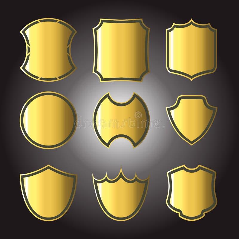 Σύνολο διαφορετικών χρυσών διακριτικών ασπίδων στοκ φωτογραφία