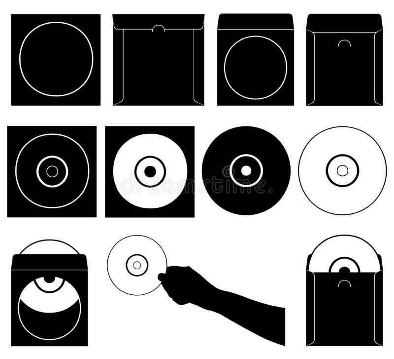 Σύνολο διαφορετικών CD και περιπτώσεων απεικόνιση αποθεμάτων