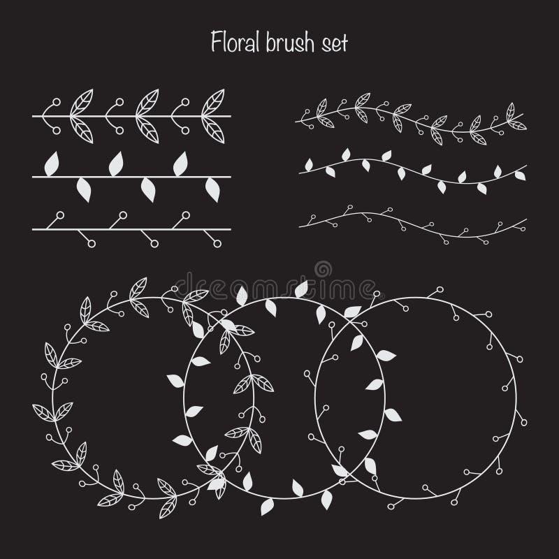 Σύνολο διαφορετικών floral βουρτσών Πλαίσια με τις florar διακοσμήσεις Β ελεύθερη απεικόνιση δικαιώματος