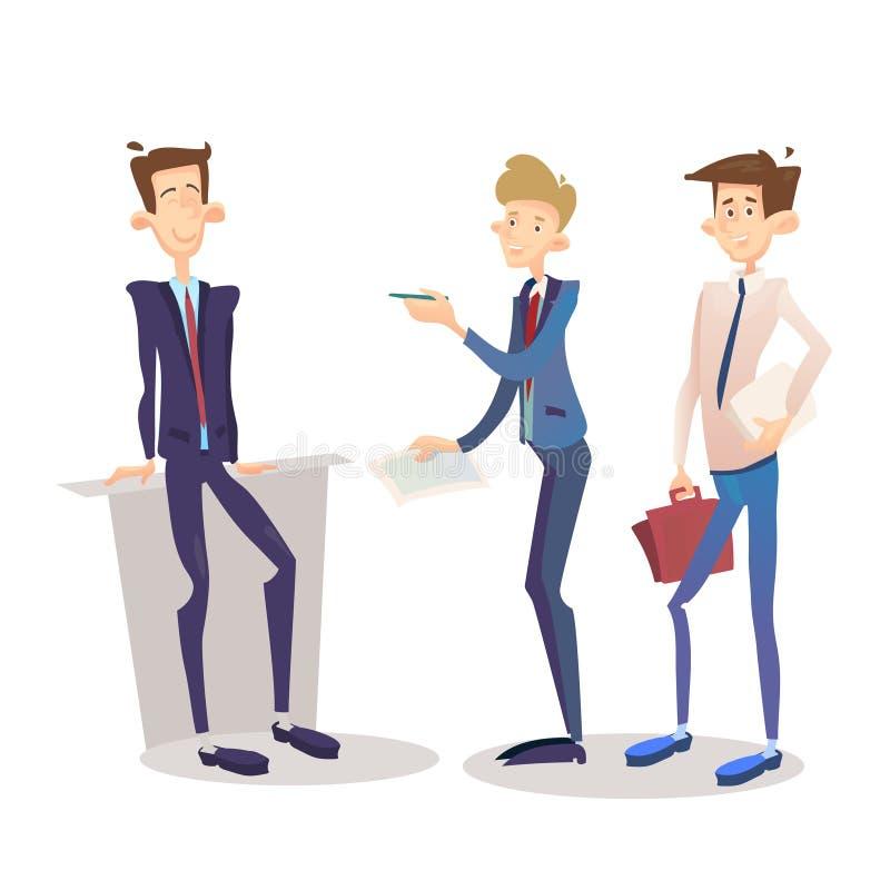 Σύνολο διευθυντών επιχειρησιακών ατόμων, πλήρης χαρακτήρας κινουμένων σχεδίων μήκους επιχειρηματιών απεικόνιση αποθεμάτων