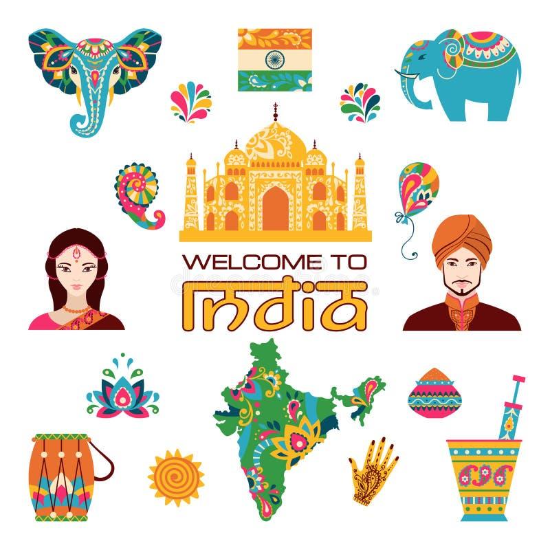 Σύνολο ινδικών επίπεδων εικονιδίων ελεύθερη απεικόνιση δικαιώματος