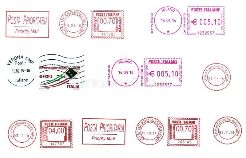 Σύνολο ιταλικών ταχυδρομικών σφραγίδων απεικόνιση αποθεμάτων