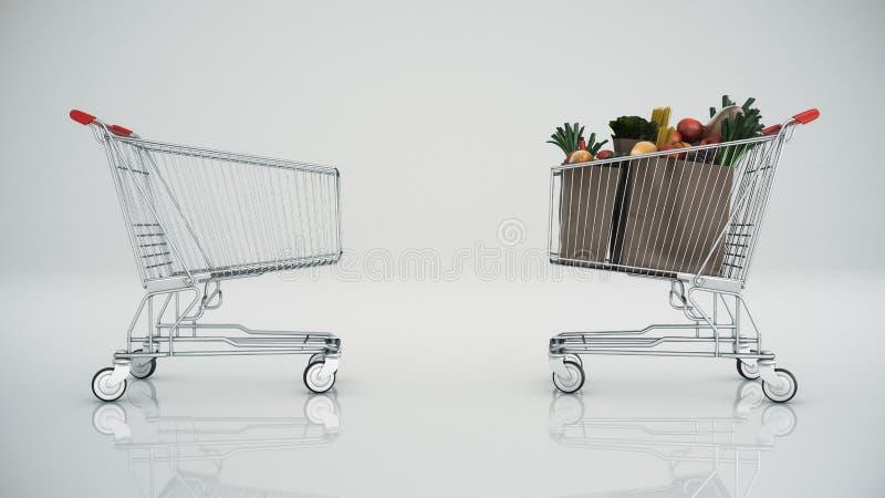 Σύνολο κάρρων αγορών με τα προϊόντα ελεύθερη απεικόνιση δικαιώματος