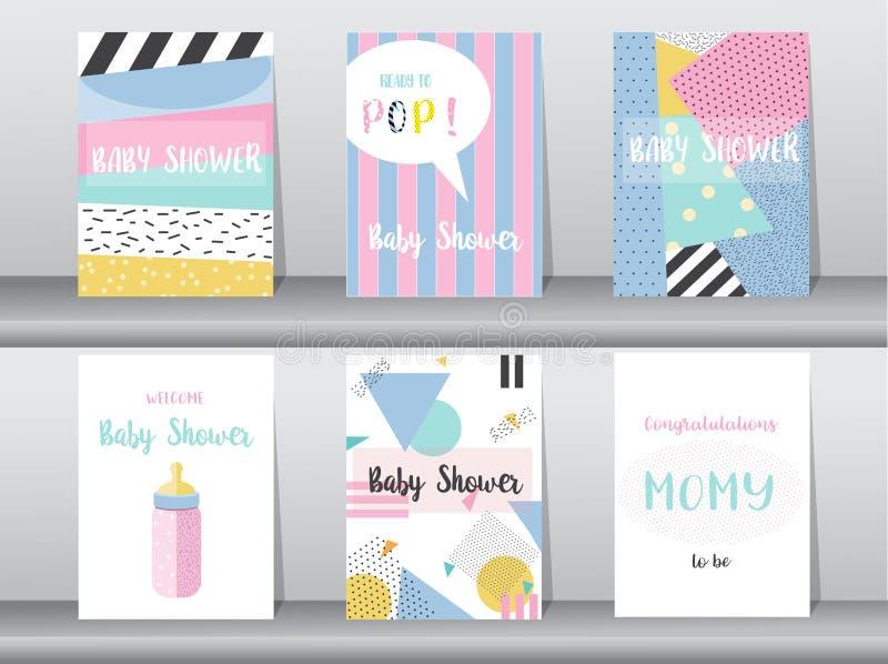 Σύνολο κάρτας ντους μωρών στο αναδρομικό σχέδιο σχεδίων, τρύγος, αφίσα, πρότυπο, χαιρετισμός, διανυσματικές απεικονίσεις ελεύθερη απεικόνιση δικαιώματος
