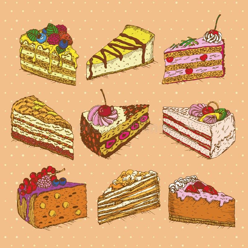 Σύνολο κέικ στο εκλεκτής ποιότητας ύφος doodle ελεύθερη απεικόνιση δικαιώματος