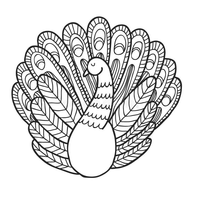 Σύνολο κήπων μαχαραγιάδων Peacock Χρωματίζοντας σελίδα ελεύθερη απεικόνιση δικαιώματος