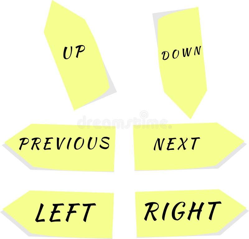 Σύνολο κίτρινων διανυσμάτων βελών με το κείμενο ελεύθερη απεικόνιση δικαιώματος