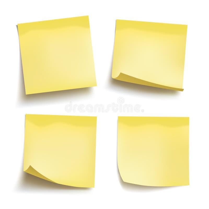Σύνολο κίτρινων φύλλων των εγγράφων σημειώσεων τέσσερις σημειώσεις κολλώδεις διάνυσμα απεικόνιση αποθεμάτων