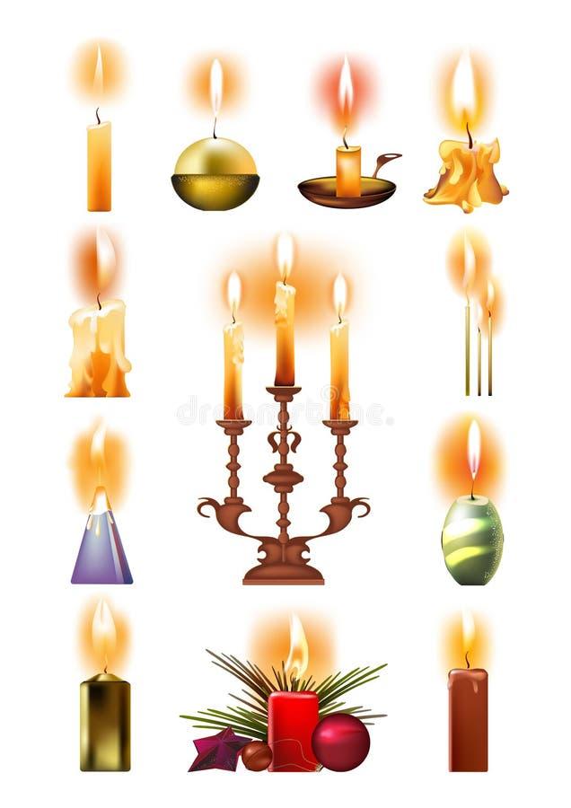 Σύνολο καίγοντας κεριών: κλασικός, στον κάτοχο, στο κηροπήγιο, Χριστούγεννα απεικόνιση αποθεμάτων