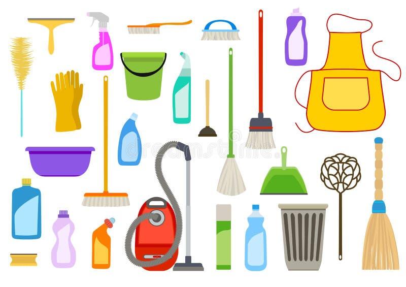 Σύνολο καθαρίζοντας προμηθειών Εργαλεία διανυσματική απεικόνιση