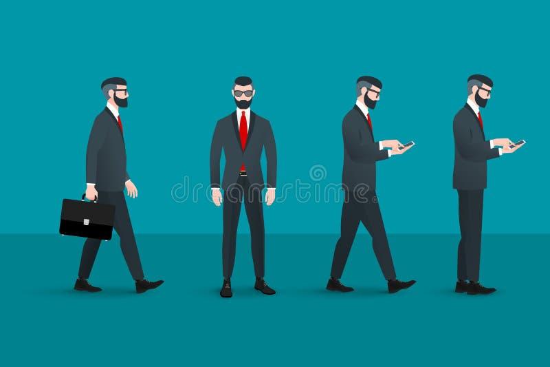 Σύνολο καθιερώνοντος τη μόδα nerd hipster businessmans Αφηρημένη επίπεδη διανυσματική επιχειρησιακή εννοιολογική απεικόνιση στοιχ απεικόνιση αποθεμάτων
