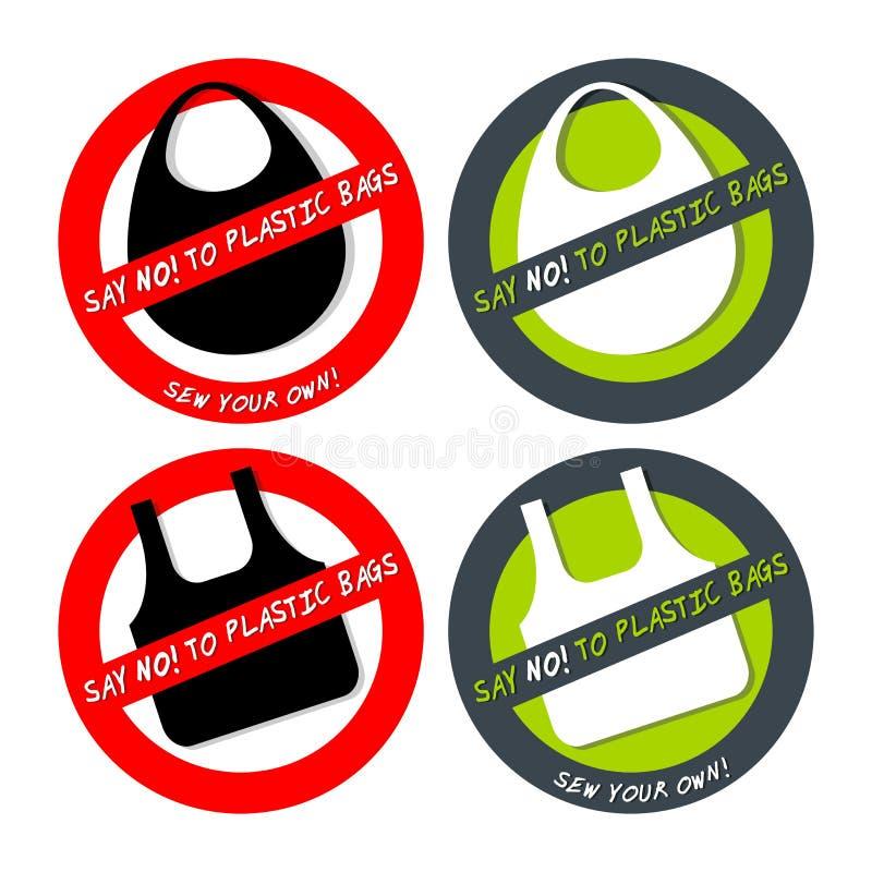 Σύνολο κανενός εικονιδίου πλαστικών τσαντών που απομονώνεται στο λευκό ελεύθερη απεικόνιση δικαιώματος
