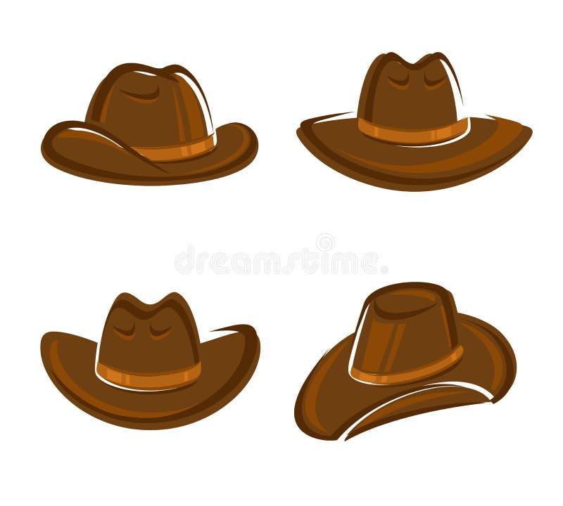 Σύνολο καπέλων κάουμποϋ διάνυσμα διανυσματική απεικόνιση