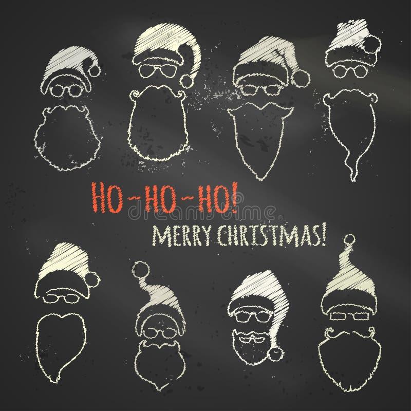 Download Σύνολο καπέλων και γενειάδων Santa κιμωλίας Διανυσματική απεικόνιση - εικονογραφία από χριστούγεννα, γραμμικός: 62721417
