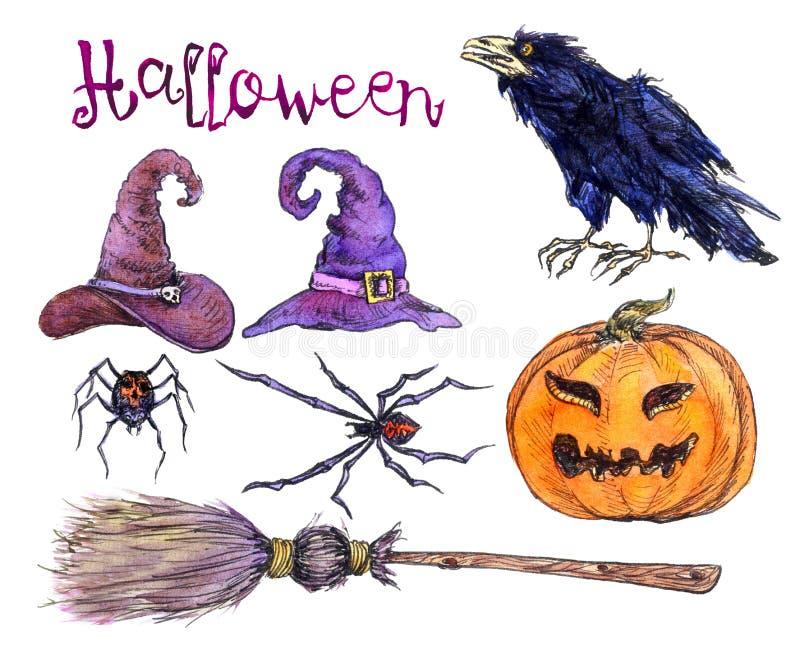 Σύνολο καπέλων witchs, κολοκύθα, αράχνες, κόρακας, σκούπα αποκριές διανυσματική απεικόνιση