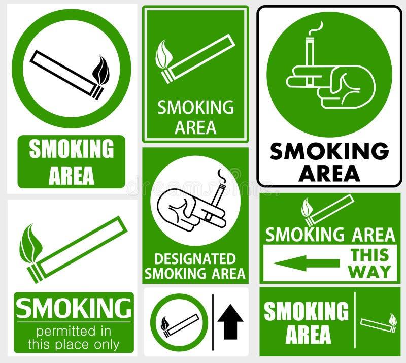 Σύνολο καπνίζοντας σημαδιών περιοχής διανυσματική απεικόνιση