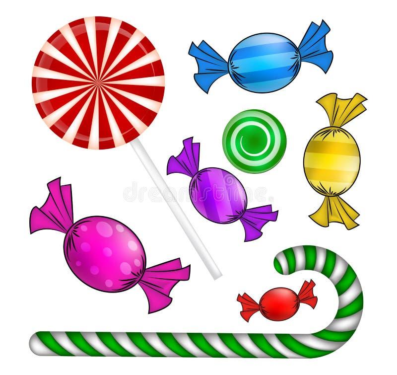 Σύνολο καραμελών Χριστουγέννων Ζωηρόχρωμο τυλιγμένο γλυκό, lollipop, κάλαμος Μηχανικό δίκυκλο διανυσματική απεικόνιση