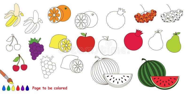 Σύνολο καρπού Μεγάλο χρωματίζοντας βιβλίο διανυσματική απεικόνιση