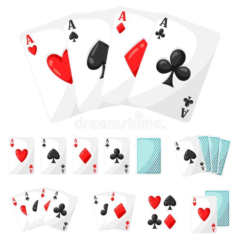 Σύνολο καρτών άσσων παιχνιδιού χαρτοπαικτικών λεσχών για το σχέδιο ελεύθερη απεικόνιση δικαιώματος