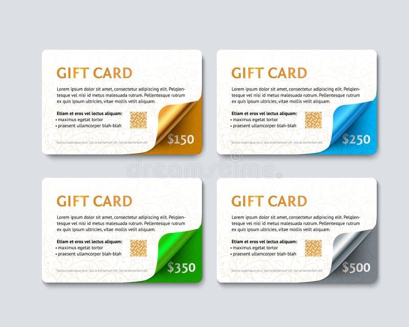 Σύνολο καρτών έκπτωσης δώρων διανυσματική απεικόνιση