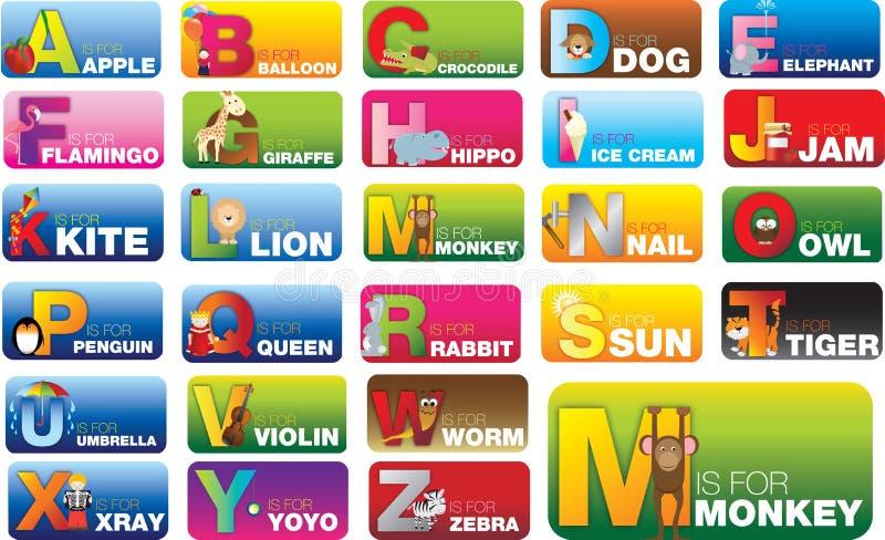 Σύνολο καρτών αλφάβητου abc για την εκμάθηση των νέων ήχων και των λέξεων διανυσματική απεικόνιση
