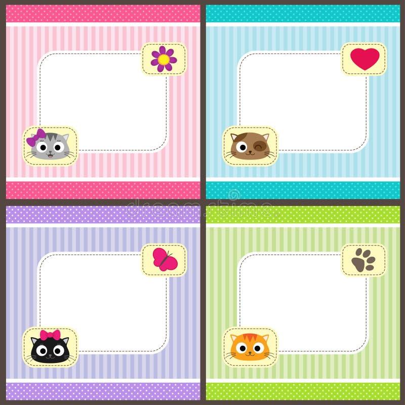 Σύνολο καρτών με τις γάτες ελεύθερη απεικόνιση δικαιώματος