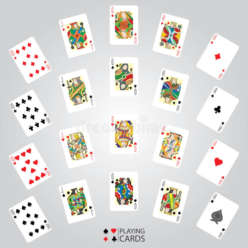Σύνολο καρτών παιχνιδιού: Τα δέκα, Jack, βασίλισσα, βασιλιάς, άσσος απεικόνιση αποθεμάτων
