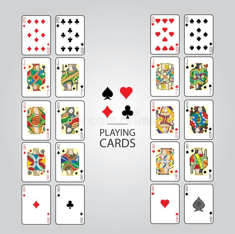 Σύνολο καρτών παιχνιδιού: Τα δέκα, Jack, βασίλισσα, βασιλιάς, άσσος διανυσματική απεικόνιση