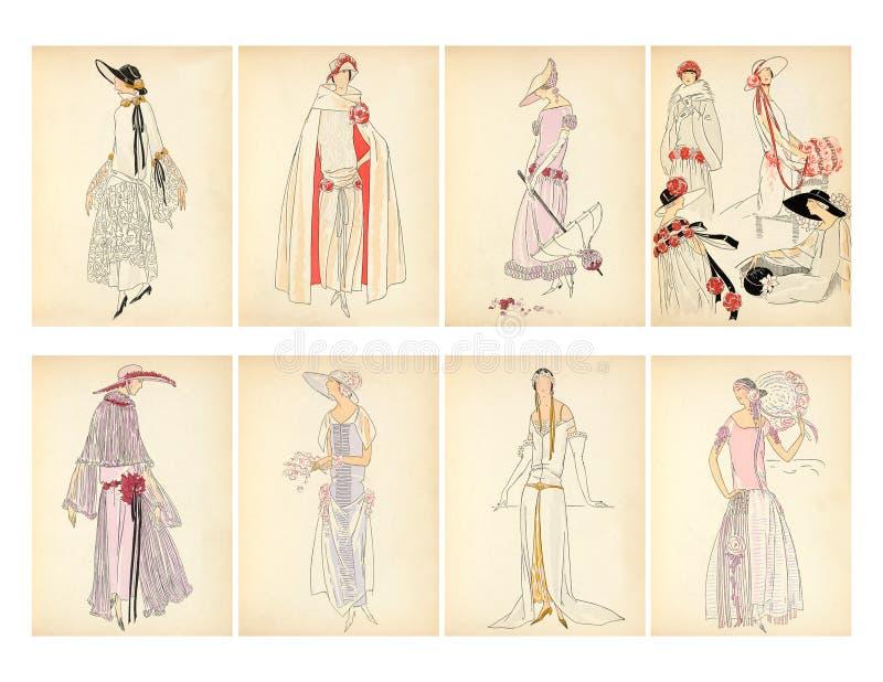 Σύνολο καρτών πιάτων μόδας 8 του Art Deco εποχής γυναικών πτερυγίων διανυσματική απεικόνιση