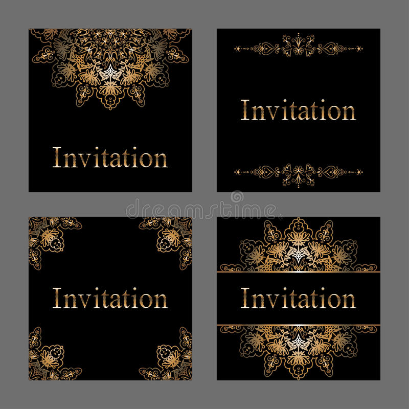 Σύνολο καρτών πρόσκλησης με το χρυσό φύλλο αλουμινίου διανυσματική απεικόνιση