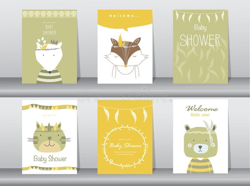 Σύνολο καρτών πρόσκλησης ντους μωρών διανυσματική απεικόνιση