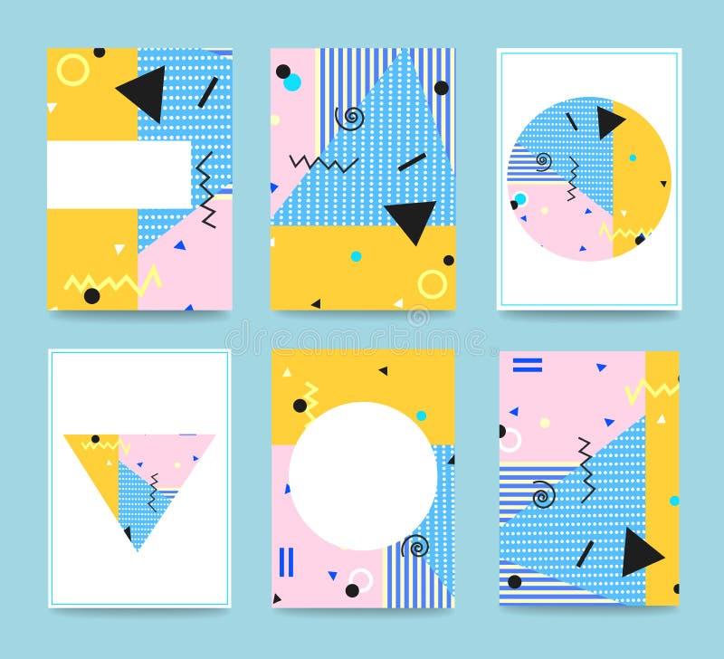 Σύνολο καρτών ύφους της Μέμφιδας Τυπογραφία για τις κάρτες απεικόνιση αποθεμάτων