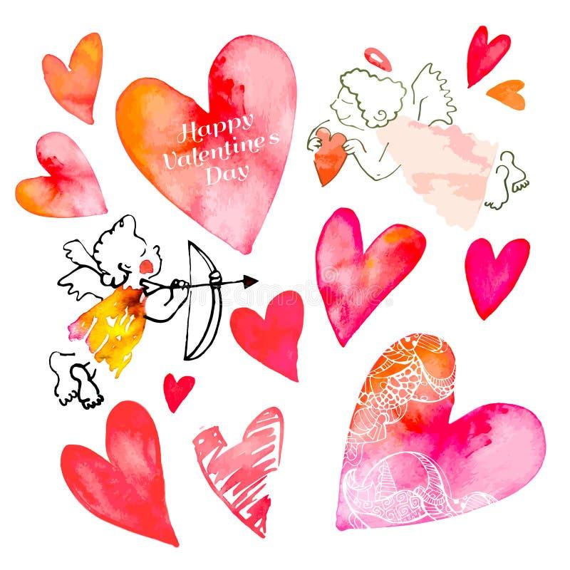 Σύνολο καρδιών και cupids διάνυσμα βαλεντίνων αγάπης απεικόνισης ημέρας ζευγών ελεύθερη απεικόνιση δικαιώματος