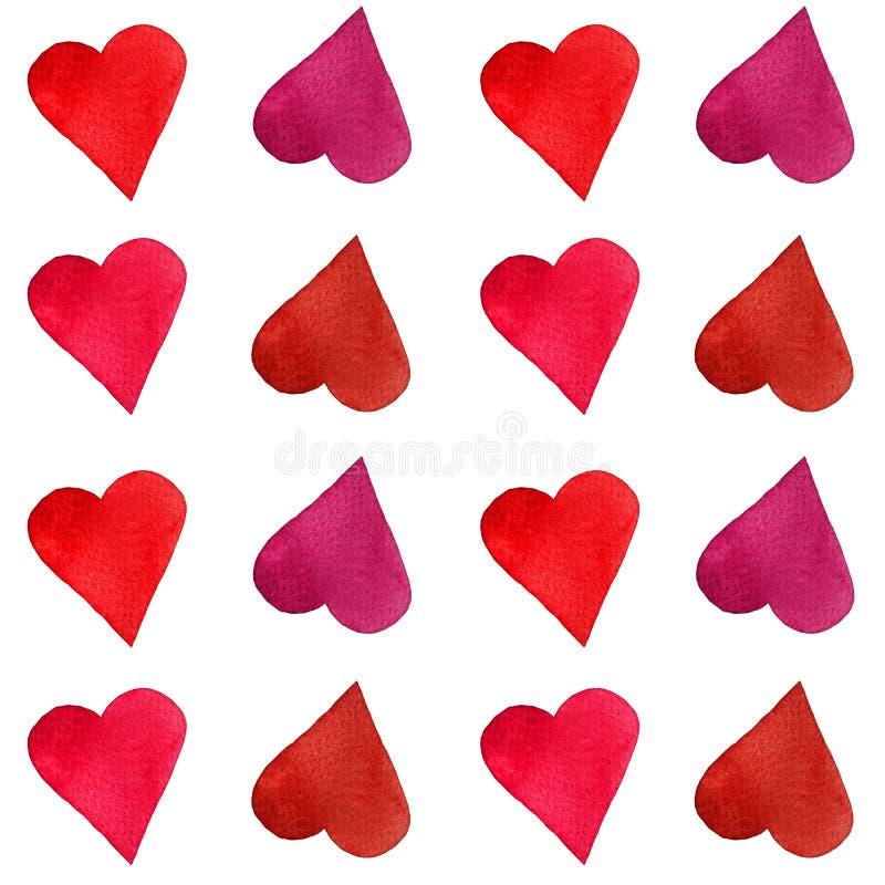 Σύνολο καρδιών watercolor Χέρι που χρωματίζεται Απομονωμένα αντικείμενα τέλεια για την κάρτα ημέρας βαλεντίνων ` s στοκ φωτογραφία