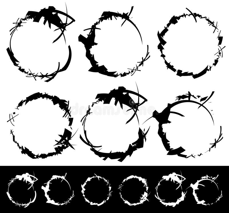 Σύνολο κατασκευασμένων, τραχιών και βρώμικων στοιχείων που απομονώνονται στο λευκό EL απεικόνιση αποθεμάτων