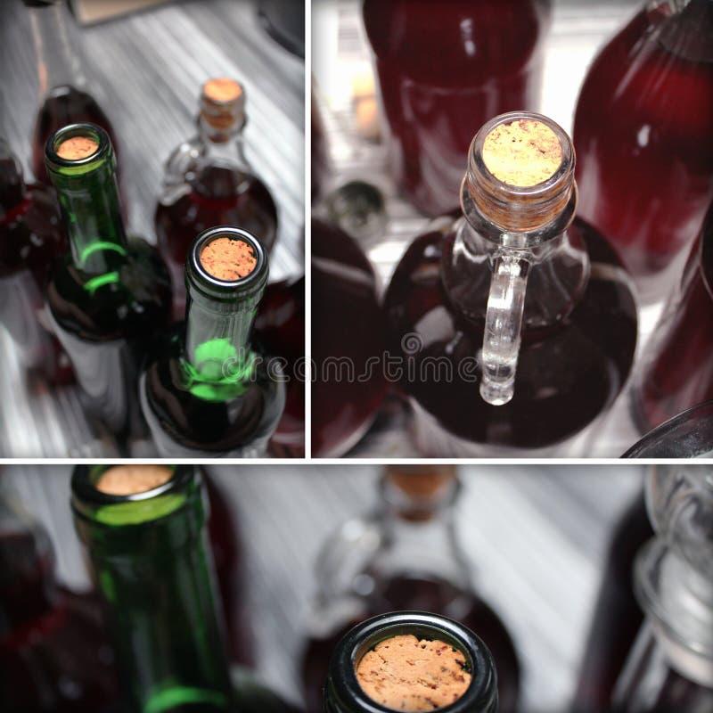 Σύνολο κατ' οίκον γίνοντων λεπτομερειών μπουκαλιών κρασιού στοκ εικόνες με δικαίωμα ελεύθερης χρήσης