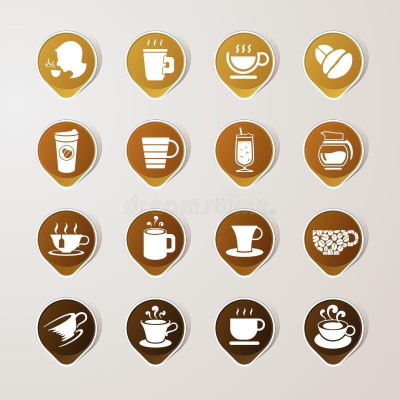 Σύνολο καφέ ετικετών αυτοκόλλητων ετικεττών διανυσματική απεικόνιση