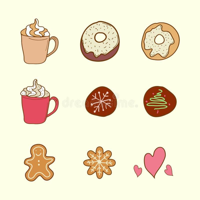 Σύνολο καφέ, μπισκότων και κέικ απεικόνιση αποθεμάτων
