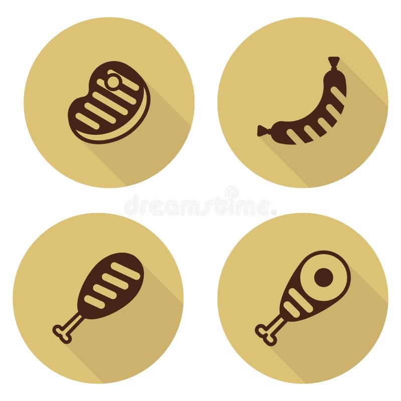 Σύνολο καφετιού bbq εικονιδίων κρέατος διανυσματική απεικόνιση