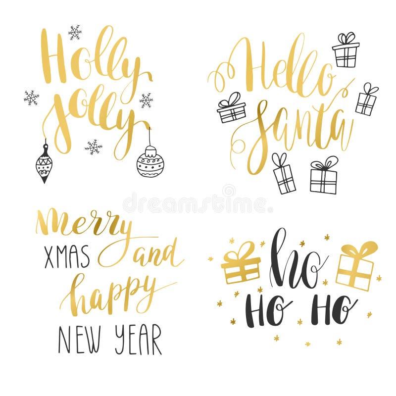 Σύνολο καλλιγραφικών αποσπασμάτων χειμερινών διακοπών χεριών Χρυσό και μαύρο κείμενο με τα διακοσμητικά στοιχεία απεικόνιση αποθεμάτων