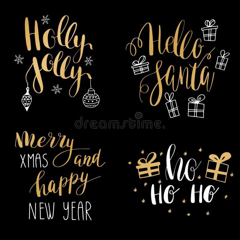 Σύνολο καλλιγραφικών αποσπασμάτων χειμερινών διακοπών χεριών Χρυσό και μαύρο κείμενο με τα διακοσμητικά στοιχεία διανυσματική απεικόνιση