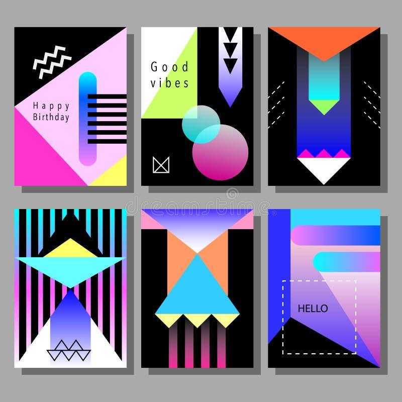 Σύνολο καλλιτεχνικών ζωηρόχρωμων καρτών Καθιερώνον τη μόδα ύφος της Μέμφιδας Καλύψεις με το επίπεδο γεωμετρικό σχέδιο διανυσματική απεικόνιση